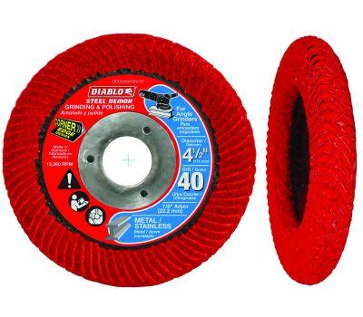 Freud DCC045040N01F Diablo Steel Demon Flap Disc, 4-1/2 in Dia, 7/8 in Arbor, 40 Grit, Ultra Coarse, Zirconium Abrasive