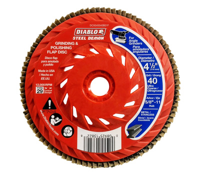 Freud DCX045040B01F Diablo Flap Disc, 4-1/2 in Dia, 5/8-11 Arbor, 40 Grit, Ultra Coarse, Zirconium Abrasive