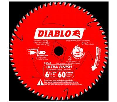Freud D0660X Diablo Circular Saw Blade, 6-1/2 in Dia, 60-Teeth, Applicable Materials: Wood