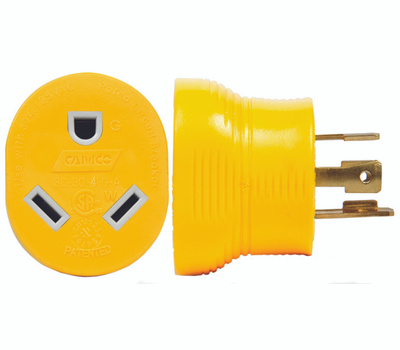 Camco 55338 Power Grip Adapter, 30 a Female, 30 a Male, 125 V, Male, Female