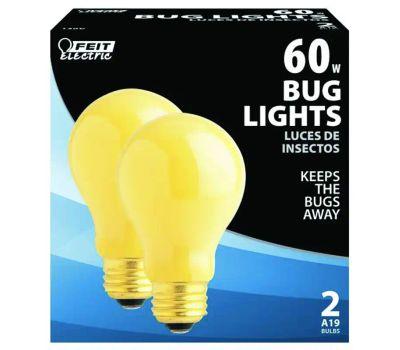 Feit Electric 60A/Y-130 60 Watt Bug Light Yellow Medium Base 2 Pack