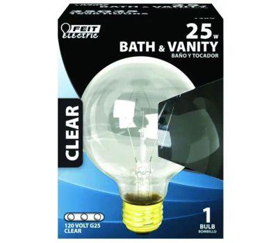 Feit Electric 25G25/RP 25 Watt Clear Globe Bulb G 25 Medium Brass Base