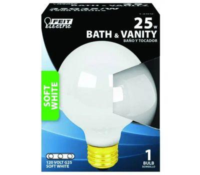 Feit Electric 25G25/W/RP 25 Watt Incandescent Globe G 25 White Medium Brass Base