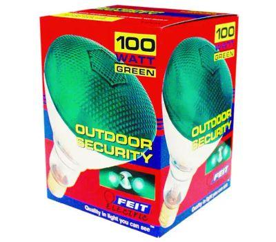 Feit Electric 100PAR/G/1 100 Watt Outdoor Parabolic Floodlight Par 38 Light Green Medium Brass Base