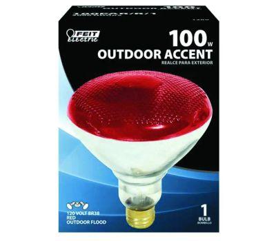 Feit Electric 100PAR/R/1 100 Watt Parabolic Incandescent Floodlight Par 38 Red Medium Brass Base