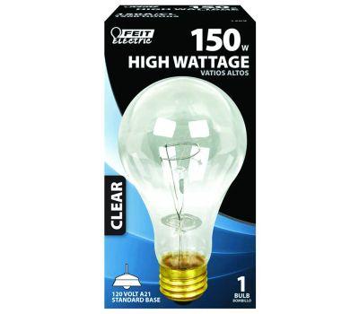 Feit Electric 150A/CL 150 Watt Incandescent Bulb A21 Clear Medium Brass Base