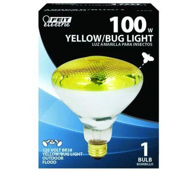 Feit Electric 100PAR/BUG/1 100 Watt Bug Parabolic Floodlight Par 38 Yellow Medium Brass Base