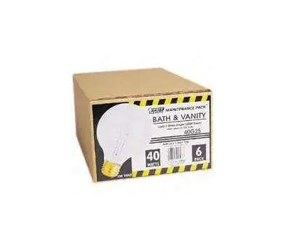 Feit Electric 40G25/W/MP-130 40 Watt 3-1/8 Inch Incandescent Globe G 25 White Medium Brass Base 6 Pack