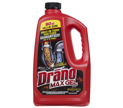Drano 40109 Max Gel Clog Remover, Gel, Natural, Bleach, 80 Ounce Bottle