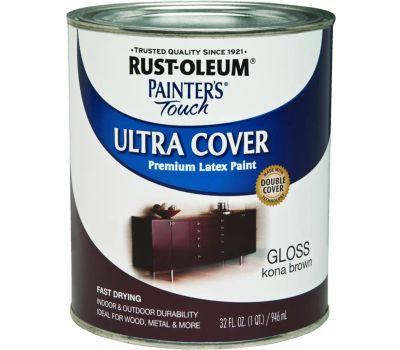 Rust-Oleum 1977502 Painters Touch Ultra Cover Latex Enamel Kona Brown Gloss Quart
