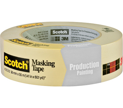 3M 2020-36AP Scotch Masking Tape For Production Painting 1-1/2 Inch By 60 Yards