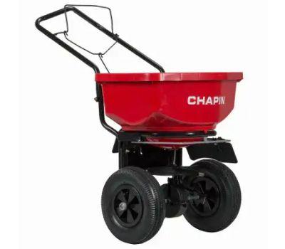 Chapin 8200A Turf Spreader, 24 in W Spread, 80 Pound Hopper, Steel Frame, Poly Hopper, Pneumatic Wheel