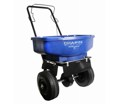 Chapin 81008A Salt and Ice Melt Spreader, 80 Pound Capacity, Steel Frame, Poly Hopper, Pneumatic Wheel