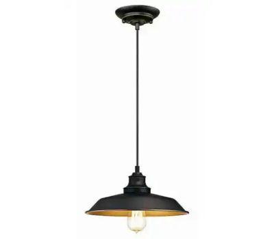 Westinghouse 63447 00 Iron Hill Indoor Pendant Light, 120 V, 1-Lamp, Incandescent, Led Lamp, Metal Fixture