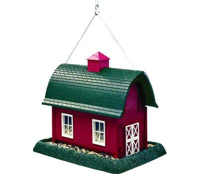 North States 9061 Wild Bird Feeder, Barn, 8 Pound, Plastic, Red, 11-1/2 in H, Pole Mounting