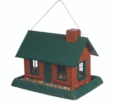 North States 9063M 9063 Hopper Bird Feeder, Log Cabin, 8 Pound, Plastic, Green, 11 in H, Hanging/Pole Mounting