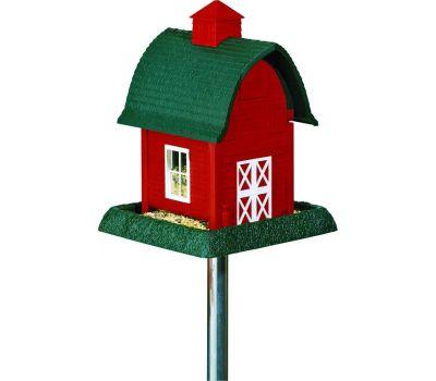 North States 9081 Wild Bird Feeder, Barn, 5 Pound, Plastic, Red, 13-1/4 in H, Pole Mounting