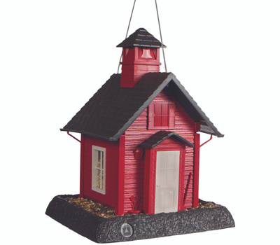 North States 9084 Hopper Bird Feeder, School House, 5 Pound, Plastic, Gray/Red, 13-1/4 in H, Hanging/Pole Mounting