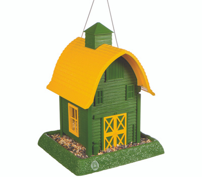 North States 9096 Hopper Bird Feeder, Barn, 5 Pound, Plastic, Green/Yellow, 13-1/4 in H, Hanging/Pole Mounting