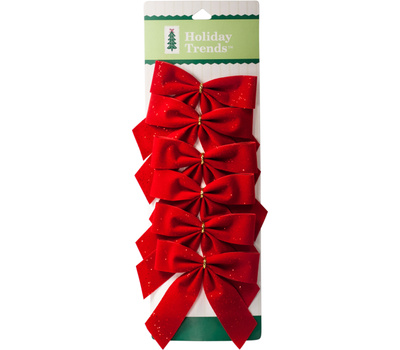 Berwick Offray PT700655TV Berry Red Velvet Glitter Bows 3 1/2 By 3 1/2 Inch 6 Count