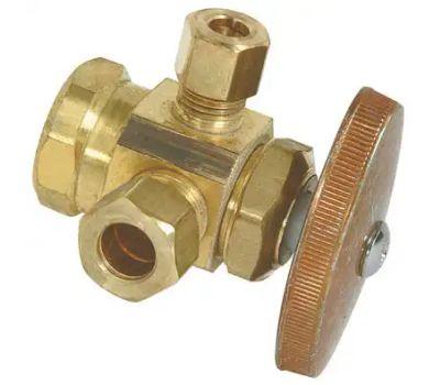 Brass Craft R1700RX RD Plumb Shop 3 Way Brass Dual Outlet Valve