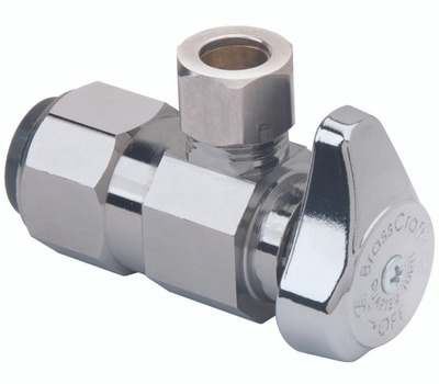 Brass Craft G2PS19X CD Stop Valve, 1/2 X 3/8 in Connection, Push-Connect X Compression, 125 Psi Pressure, Brass Body