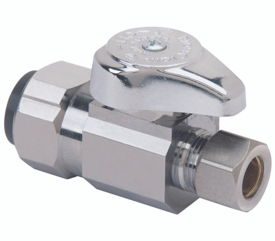 Brass Craft G2PS14X CD Stop Valve, 1/2 X 3/8 in Connection, Push-Connect X Compression, 125 Psi Pressure, Brass Body