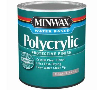 Minwax 611114444 Polycrylic Protective Finish, Ultra Flat, Liquid, 1 Qt