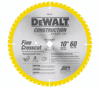 DeWalt DW3106 10 Inch Fine Cut 60 Tooth Saw Blade