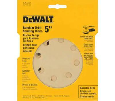 DeWalt DW4307 5 Inch 8 Hole Hook And Loop Sanding Discs Assorted Grit 5 Pack