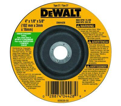 DeWalt DW4428 4 By 1/8 Inch Masonry Cutting Wheel