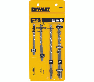 DeWalt DW5204 4 Piece Premium Percussion Masonry Bit Set