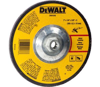 DeWalt DW4548 Grinding Wheel, 7 in Dia, 1/4 in Thick, 5/8-11 in Arbor, 24 Grit, Aluminum Oxide Abrasive