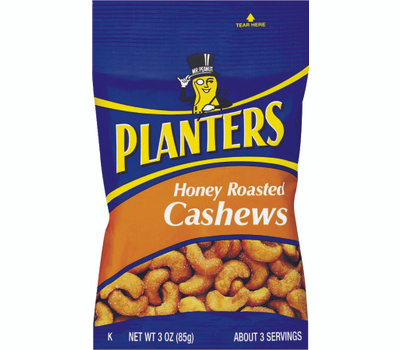 Kraft 422700 Planters Cashew, Honey Roasted Flavor, 3 Ounce Bag