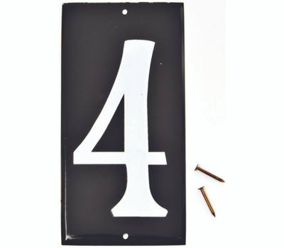 Hy Ko CA-25/4 Hy-Ko 3-1/2 Inch White Reflective On 5 Inch Black Aluminum Panel House Number 4