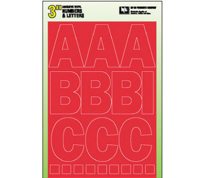 Hy Ko 30005 Hy-Ko 3 Inch Red Self Stick Adhesive Vinyl Number And Letter Set
