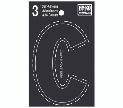Hy Ko 30413 Hy-Ko 3 Inch Black Adhesive Vinyl Die Cut Letter C