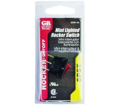 Gardner Bender ECM GSW-48 Miniature Lighted Rocker Switch Single Pole Single Throw On Off