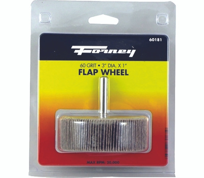 Forney 60181 Flap Wheel, 3 in Dia, 1 in Thick, 1/4 in Arbor, 60 Grit, Aluminum Oxide Abrasive