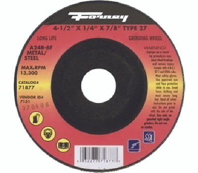 Forney 71877 Grinding Wheel, 4-1/2 in Dia, 1/4 in Thick, 7/8 in Arbor, 24 Grit, Aluminum Oxide Abrasive