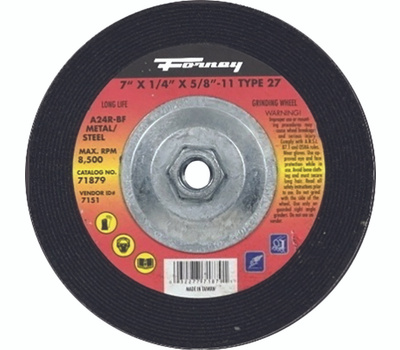 Forney 71879 Grinding Wheel, 7 in Dia, 1/4 in Thick, 5/8-11 in Arbor, 24 Grit, Aluminum Oxide Abrasive