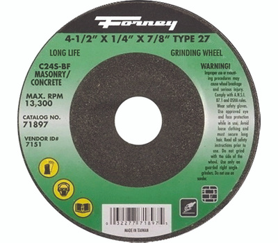 Forney 71897 Grinding Wheel, 4-1/2 in Dia, 1/4 in Thick, 7/8 in Arbor, 24 Grit, Silicone Carbide Abrasive