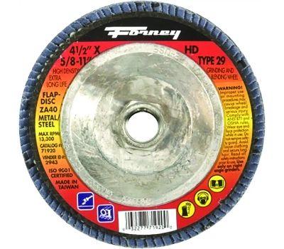 Forney 71920 Flap Disc, 4-1/2 in Dia, 5/8-11 Arbor, 40 Grit, Medium, Zirconia Aluminum Abrasive