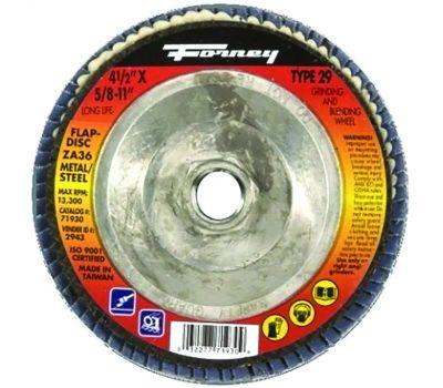 Forney 71930 Flap Disc, 4-1/2 in Dia, 5/8-11 Arbor, 36 Grit, Medium, Zirconia Aluminum Abrasive, Fiberglass Backing