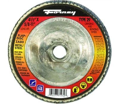 Forney 71932 Flap Disc, 4-1/2 in Dia, 5/8-11 Arbor, 80 Grit, Fine, Zirconia Aluminum Abrasive, Fiberglass Backing