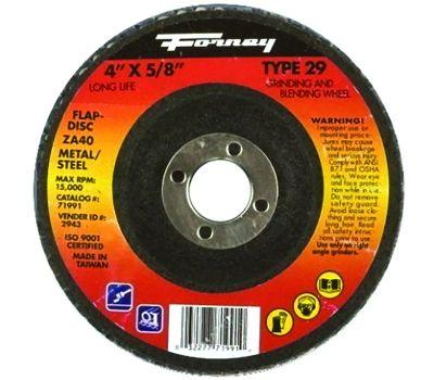 Forney 71991 Flap Disc, 4 in Dia, 5/8 in Arbor, 36 Grit, Medium, Zirconia Aluminum Abrasive, Fiberglass Backing