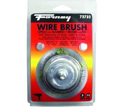 Forney 72732 Wire Cup Brush, 3 in Dia, 0.008 in Dia Bristle