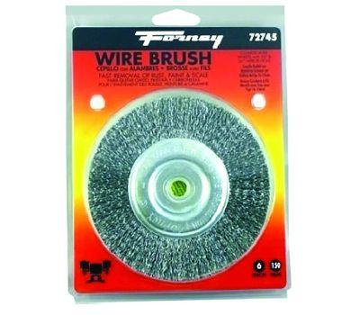 Forney 72745 Wire Wheel Brush, 6 in Dia, 1/2 to 5/8 in Arbor/Shank, 0.012 in Dia Bristle
