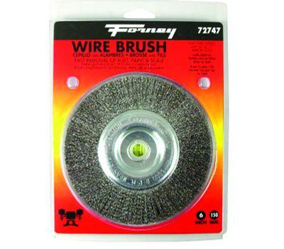 Forney 72747 Wire Wheel Brush, 6 in Dia, 1/2 to 5/8 in Arbor/Shank, 0.008 in Dia Bristle