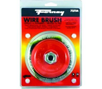 Forney 72754 Wire Cup Brush, 5 in Dia, 5/8-11 Arbor/Shank, 0.014 in Dia Bristle